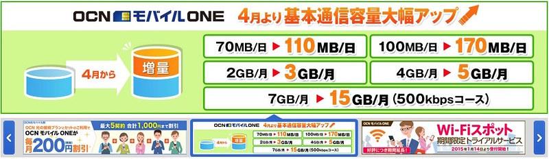 OCNモバイルONEが、またまた容量アップ!!!! ^^;;;;