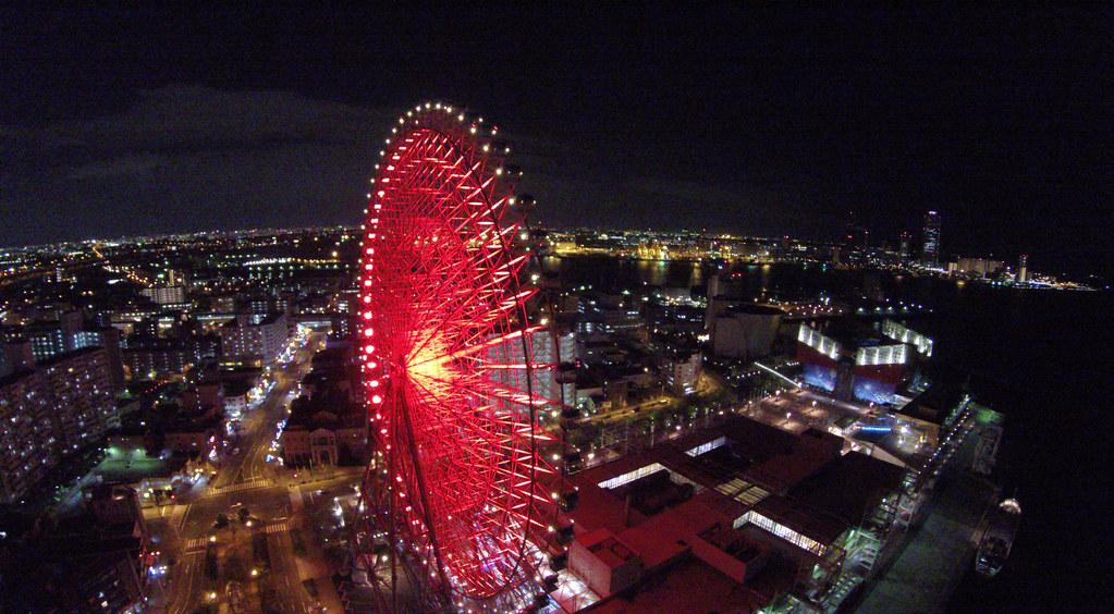 Tempozan Ferris wheel(red) ; Osaka Night Flight