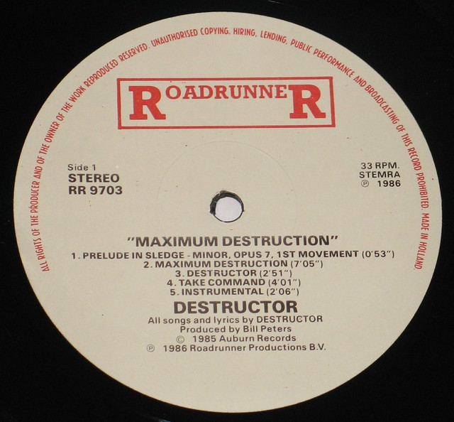 "Destructor Maximum Destruction 12"" Vinyl LP"