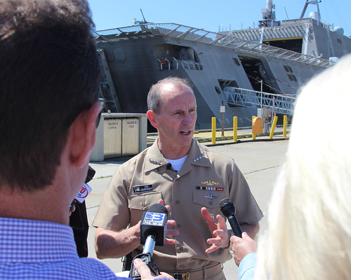 Chief of Naval Operations (CNO) Adm. Jonathan Greenert stressed the versatility of the new Independence-class littoral combat ships (LCS) at a press conference at Naval Air Station Pensacola.