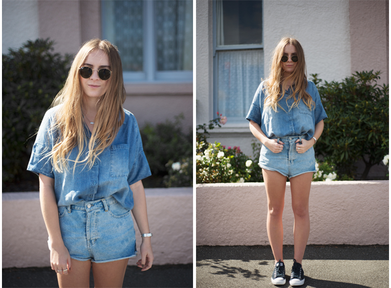 Glassons Denim Shirt, Friend of Mine Shorts, Ray-ban Round Sunglasses | Fashion Blogger | StolenInspiration.com - Kendra Alexandra