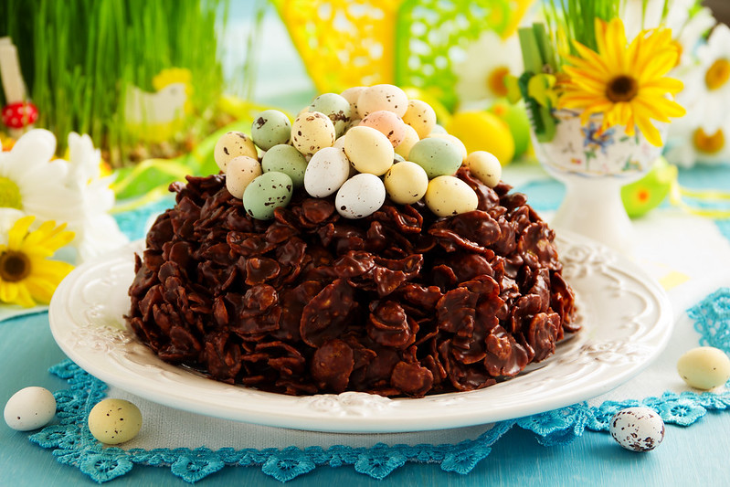 Traditional Easter cake of chocolate with chocolate eggs.