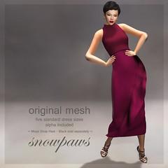 Snowpaws - Ruffle Mesh Dress - Plum
