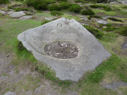 Rock with carved watering hole for grouse, Stanage Edge