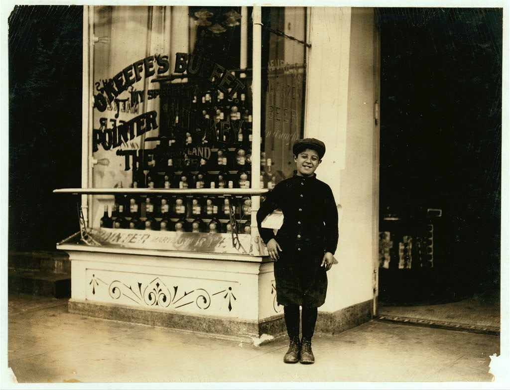Joseph Bernstein, 1518 Fifth St. N.W., a 10 yr. old news-boy who had been selling in saloons along the way, says he makes a dollar a day, sells until 8:30 P.M. Is a bright Jewish boy. Location: [Washington (D.C.), District of Columbia]