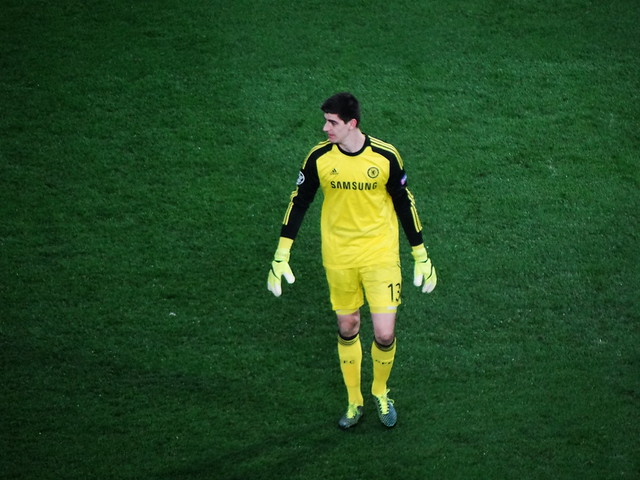 Thibaut Courtois, Chelsea (and Belgium) goalkeeper, in action against Paris Saint-Germain