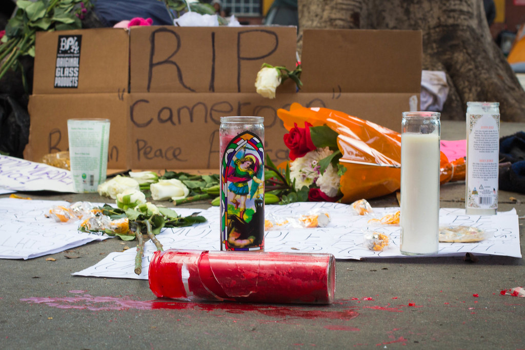 Makeshift memorial at site of LAPD Skid Row shooting. March 2, 2015