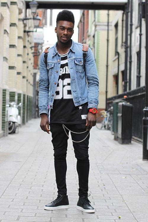 黒コーデにGジャン | メンズファッションスナップ フリーク ...