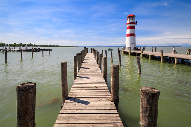 The jetty and lighthouse at Podersdorf, Neusiedler See, Austria
