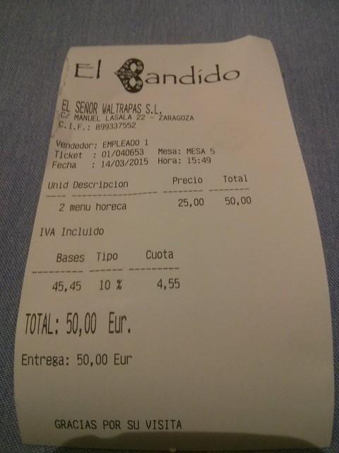Zaragoza | El Bandido | Ticket