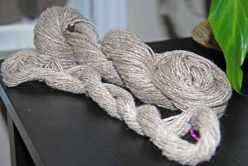 Irieknit handspun silk buffalo cashmere yarn on antique McDonald Nova Scotia spinning wheel