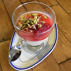Rhubarb, Pistachio Panna cotta. #lucky #you