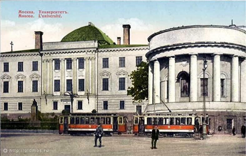 Открытка конца XIX века с изображением Московского университета и его домового храма