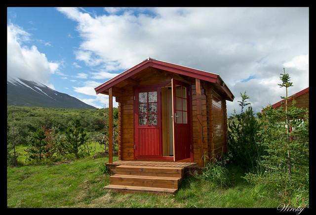 Ducha en la cabaña este Islandia