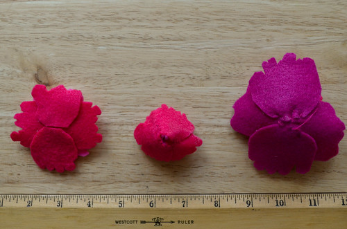Completed Ombre Felt Peonies