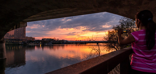Capturing the Sunset via Smartphone (on the Colorado River Texas Version v. II) by Geoff Livingston