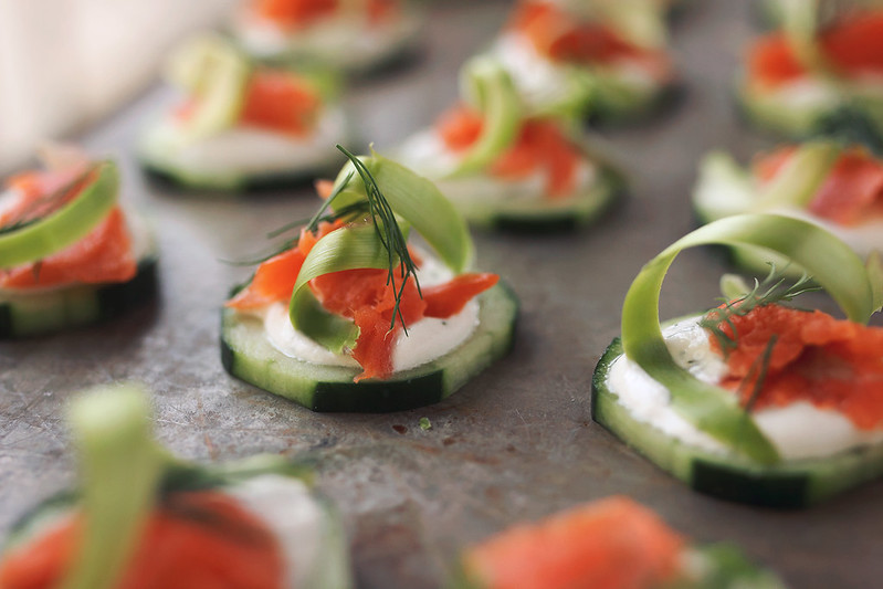 Smoked Salmon Cucumber Bites with Asparagus Ribbons and Dill Cashew Sour Cream