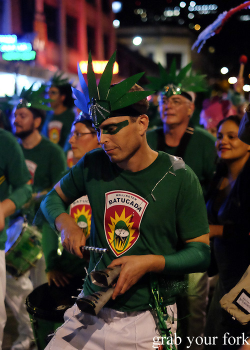 Batucada parade percussionist at the Cuba Dupa Festival 2015, Wellington