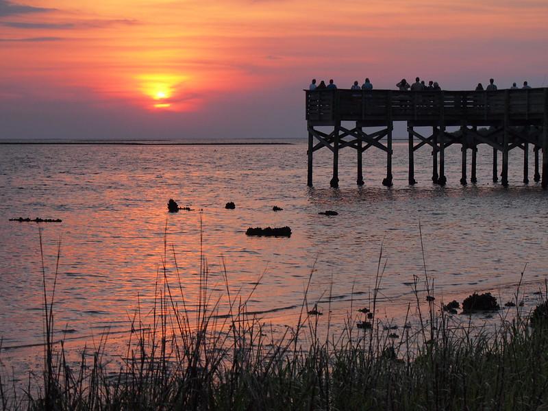 Sunset at Fort Island Gulf Beach in Florida