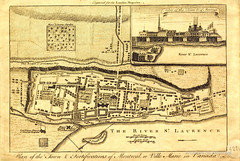 Vers 1759. Plan of the town & fortifications of Montreal or Ville Marie in Canada : engraved for the London Magazine . BM007-2-D19-P015. Archives de la Ville de Montréal.