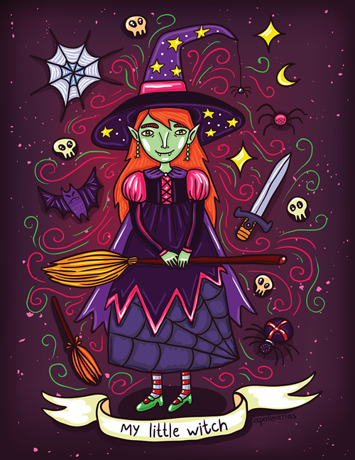 Cute Little Witch Halloween Illustration