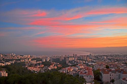 morning sea panorama sunrise israel ngc haifa mediterraniansea nikon1755 colorfulsunrise nikond7000