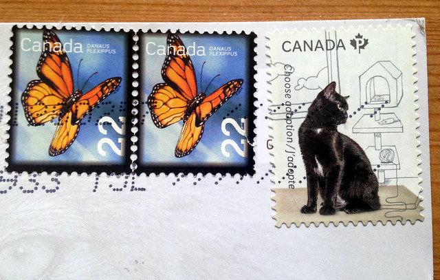 Canada Black Cat Stamp with Butterflies