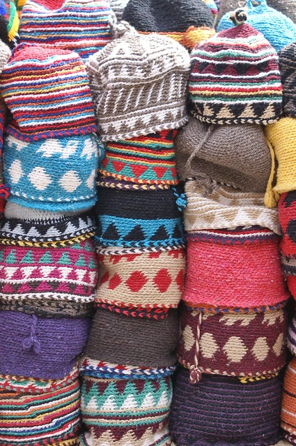crocheted beanies in the souk