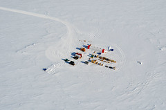 The South Pole Ice (SPICE) Core field camp, located a few kilometers from the Amundsen-Scott South Pole Station, was set up during the 2014-15 field season
