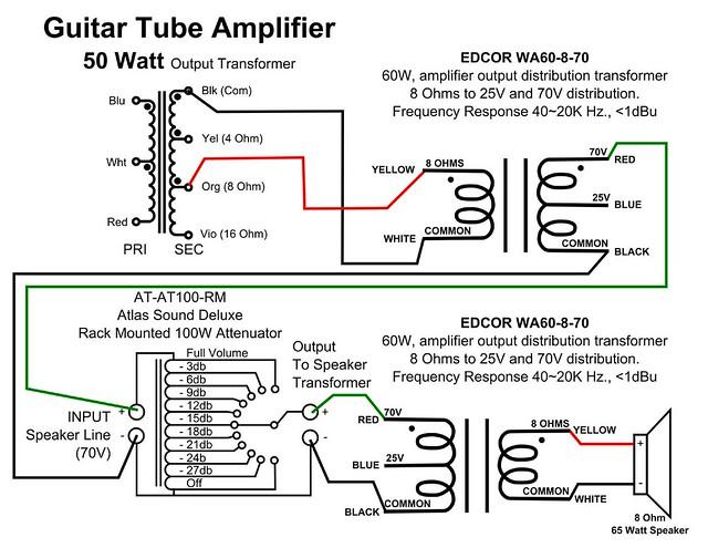 edcor connect guitar tube amp to 70 volt line audio distribution system. Black Bedroom Furniture Sets. Home Design Ideas