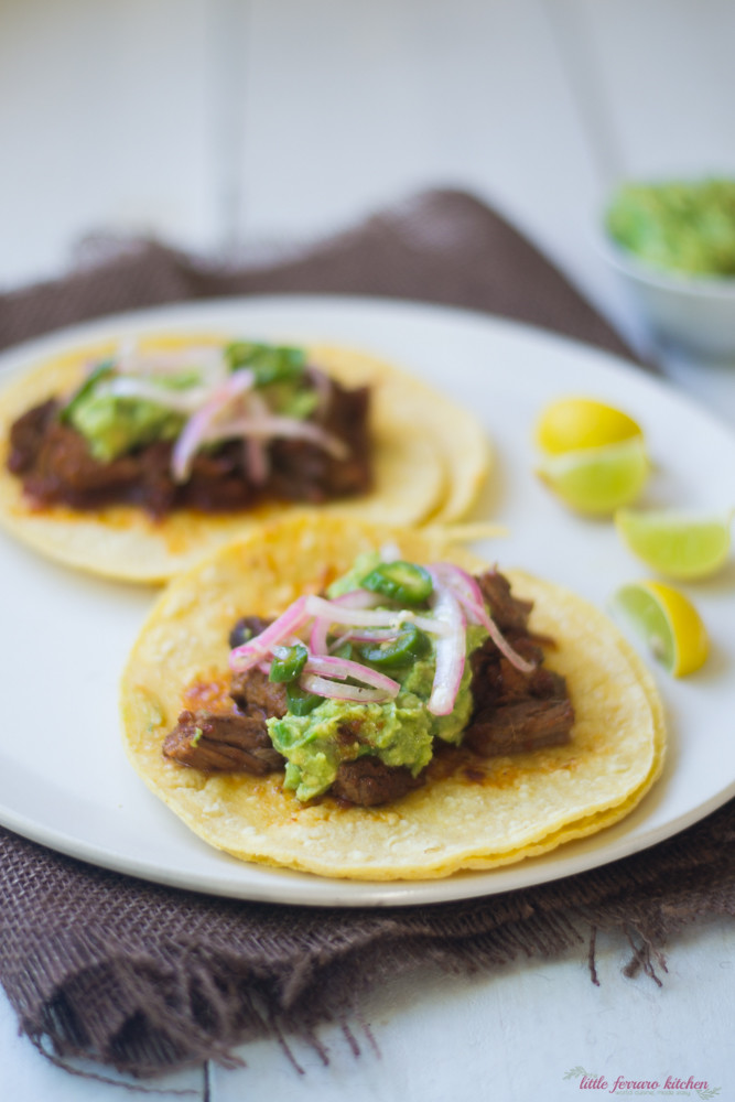 Brisket Tacos with Pickled Onions via LittleFerraroKitchen.com