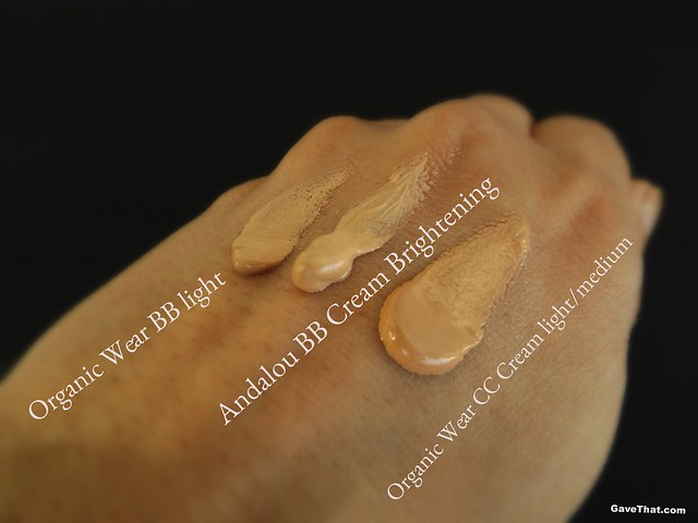 Swatches of BB and CC Creams by Andalou Naturals and Organic Wear Physicians Formula