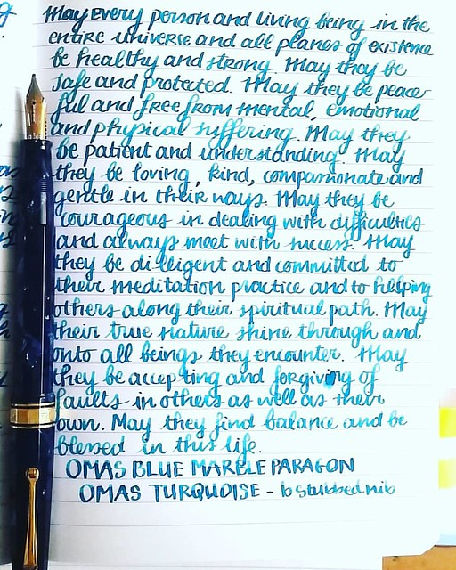 What a beautiful morning! Set the tone for Compassion and the day can't get any better 😊 Tools of choice:  Pen: Omas Blue Marble Paragon with BB Mottishaw stubbed nib (thanks to @sarjminhas)  Ink : Omas Turquoise (thanks to Akkerman The Hague) Paper