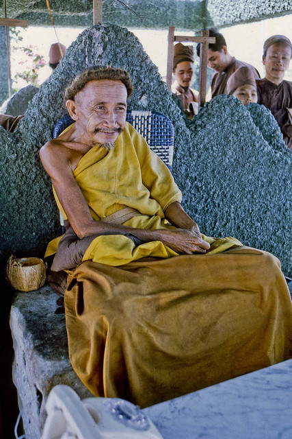 Nguyen Thanh Nam, better known as the Coconut Monk, at his island sanctuary in My Tho, 1969.