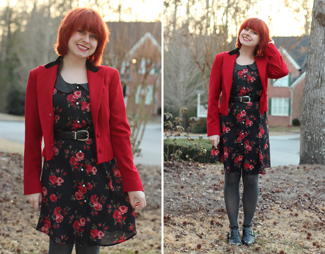 Red Vintage Blazer with a Thrifted Rose Print Dress