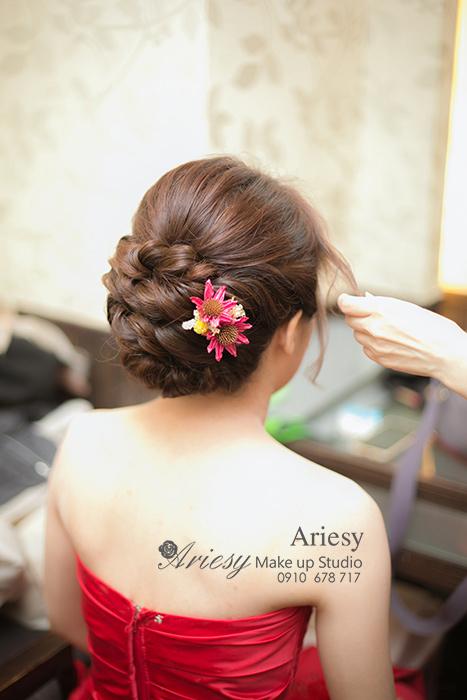 愛瑞思, Ariesy,新娘秘書,台北新秘推薦,彭園餐廳,編髮造型,鮮花飾品,清透妝感,乾燥花飾