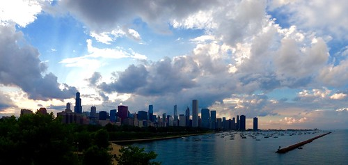 sunset chicago skyline lakemichigan pw