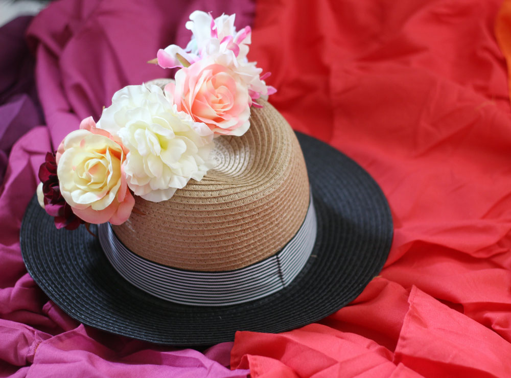 Two tone colored fedora with floral crown