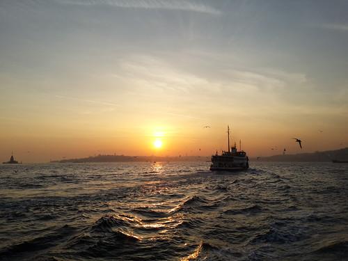 Isztambul, Boszporusz, naplemente