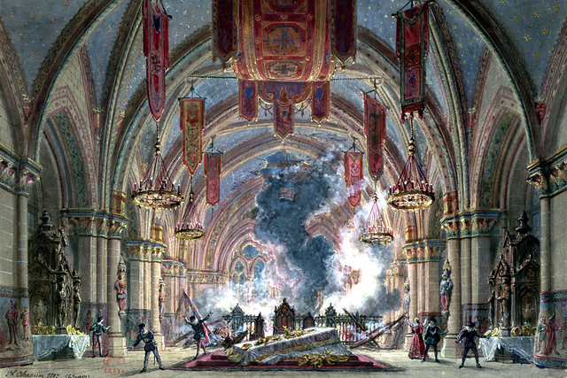 Meyerbeer's Le Prophète: sketch of the opera set for the third scene of the fifth act (1897) by Philippe Chaperon (1823–1906)