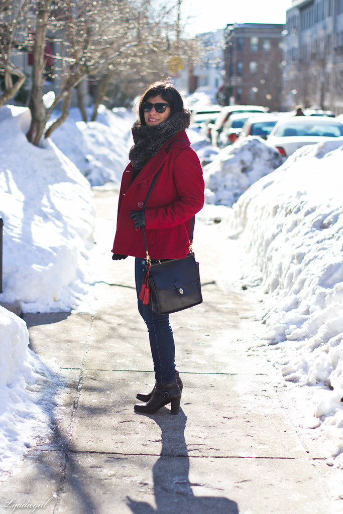 red peacoat, furry cowl, distressed jeans-4.jpg