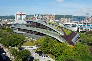 剛完工的新莊體育館綠屋頂。圖片由作者提供