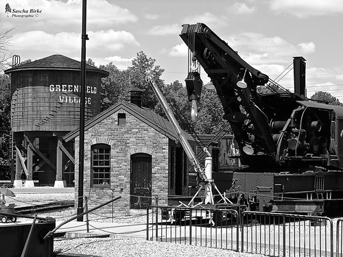Old crane on rails in Greenfield Village