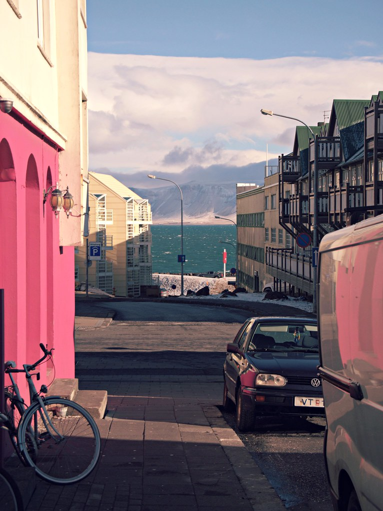 Reykjavik street view moutains