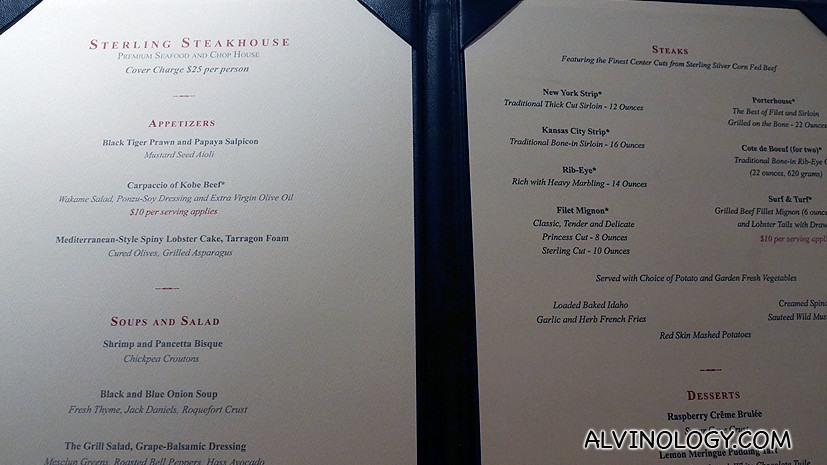 The menu - cover charge of US$25 per pax