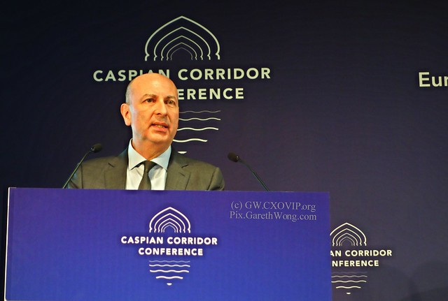 Enzo Quattrociocche Secretary General EBRD at 3rd Caspian Corridor Conference, host of the event from RAW _DSC3260