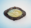 Vintage Brass Filigree Art Nouveau Brooch w/ Yellow Art Glass Stone