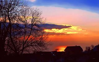 SWITZERLAND - Leman lake at sunset
