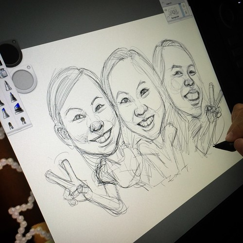 digital group caricatures of 3 girls