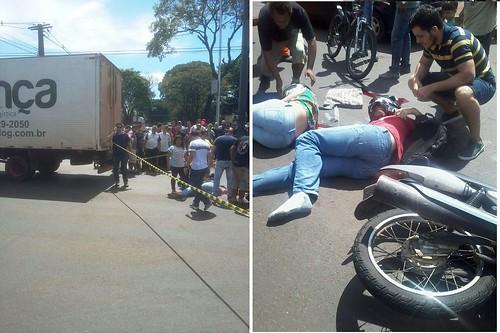 acidente moto caminhão